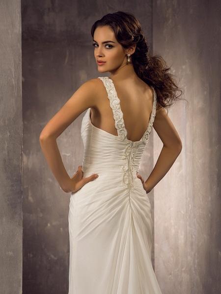 Sheath \ Column Wedding Dresses Sweetheart Neckline Sweep \ Brush Train Chiffon Regular Straps_6