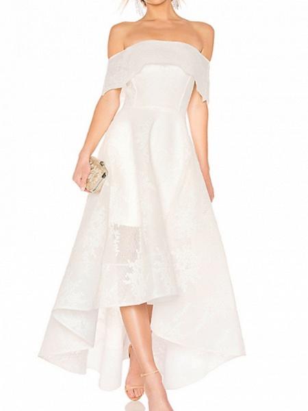 A-Line Wedding Dresses Off Shoulder Asymmetrical Ankle Length Organza Short Sleeve_1