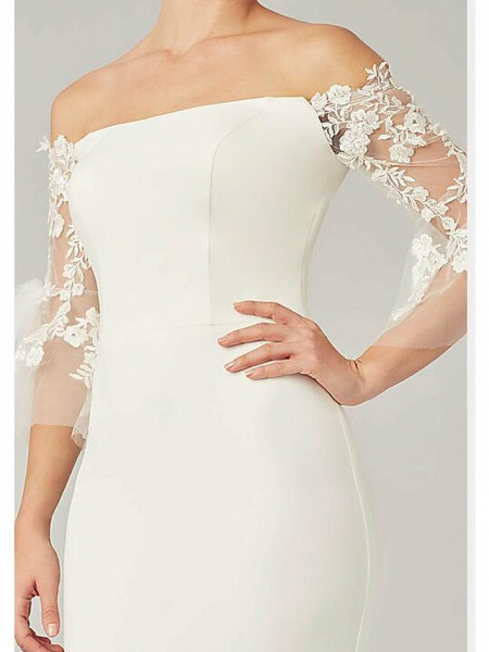 Mermaid \ Trumpet Wedding Dresses Off Shoulder Sweep \ Brush Train Lace Satin 3\4 Length Sleeve Country Plus Size_3