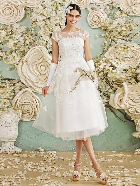 A-Line Wedding Dresses Scoop Neck Tea Length Lace Over Tulle Cap Sleeve Vintage Little White Dress Illusion Detail 1950s_2