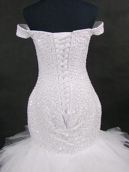 Mermaid \ Trumpet Off Shoulder Court Train Tulle Sequined Strapless Glamorous Vintage Sparkle & Shine Wedding Dresses_3