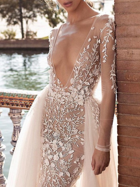 Two Piece A-Line Wedding Dresses Plunging Neck Sweep \ Brush Train Lace Tulle Sleeveless Beach Sexy See-Through Backless_3