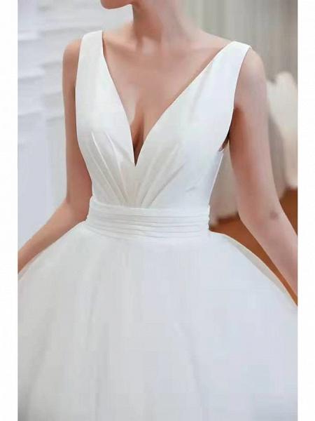 A-Line Wedding Dresses V Neck Court Train Tulle Spaghetti Strap Formal Romantic Casual_5