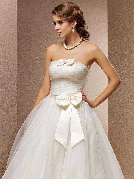Ball Gown Wedding Dresses Strapless Floor Length Tulle Sleeveless_5