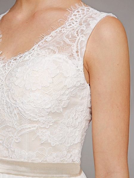 A-Line Wedding Dresses V Neck Court Train Chiffon Lace Bodice Regular Straps Simple Illusion Detail Backless_10
