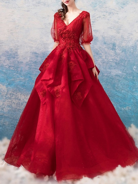 Ball Gown Wedding Dresses V Neck Floor Length Polyester Half Sleeve Romantic Plus Size Red_2