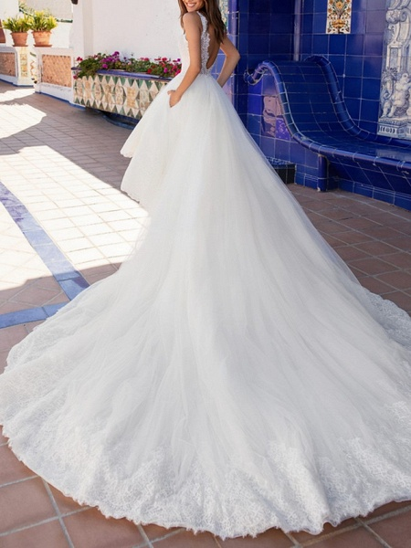 A-Line Wedding Dresses V Neck Court Train Lace Regular Straps Plus Size_2