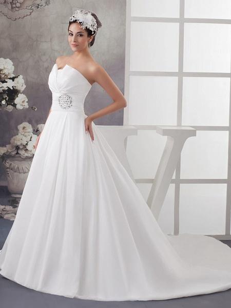A-Line Wedding Dresses Strapless Chapel Train Satin Strapless_2