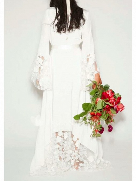 A-Line Wedding Dresses V Neck Floor Length Chiffon Lace Long Sleeve Casual Illusion Detail_2