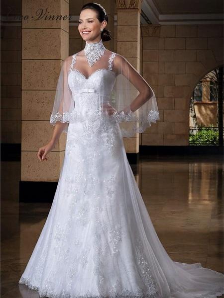 Mermaid \ Trumpet Jewel Neck Court Train Lace Tulle Regular Straps Sexy Wedding Dresses_1