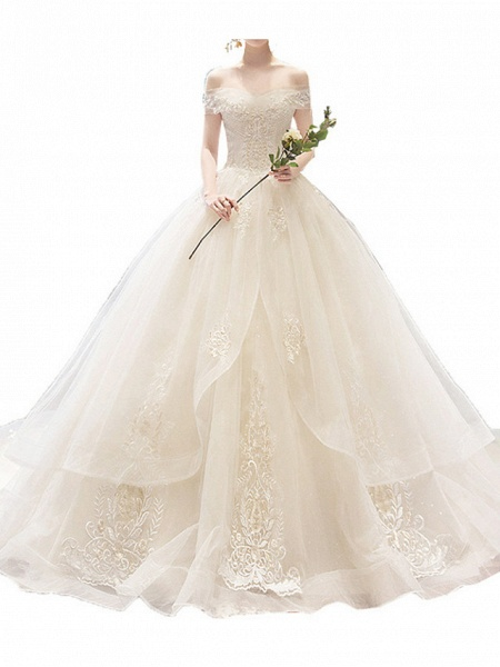 A-Line Wedding Dresses Off Shoulder Court Train Lace Sleeveless Casual Illusion Detail Plus Size_5