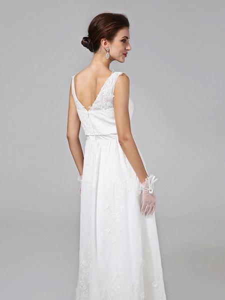 A-Line Wedding Dresses V Neck Floor Length Lace Regular Straps Simple Illusion Detail_8