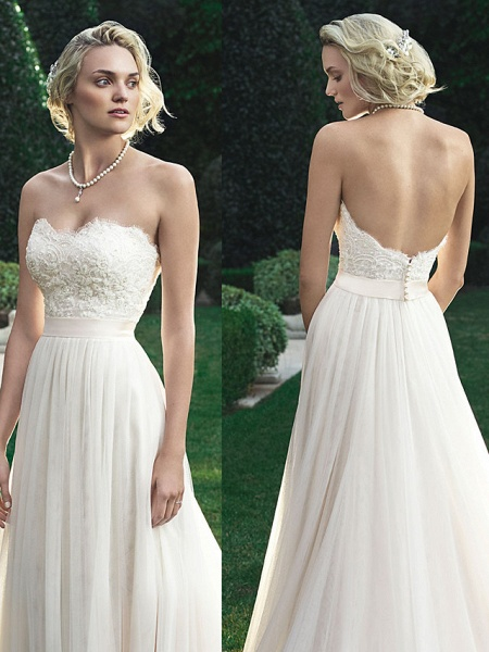 A-Line Wedding Dresses Sweetheart Neckline Court Train Polyester Strapless Beach Backless_1