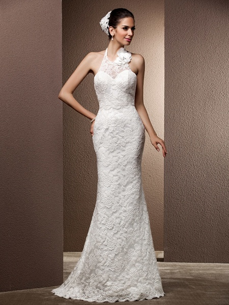 Mermaid \ Trumpet Wedding Dresses Halter Neck Sweep \ Brush Train Lace Regular Straps Open Back_2