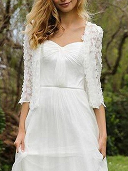 A-Line Wedding Dresses Sweetheart Neckline Floor Length Chiffon Lace Half Sleeve Simple Beach Cape_2