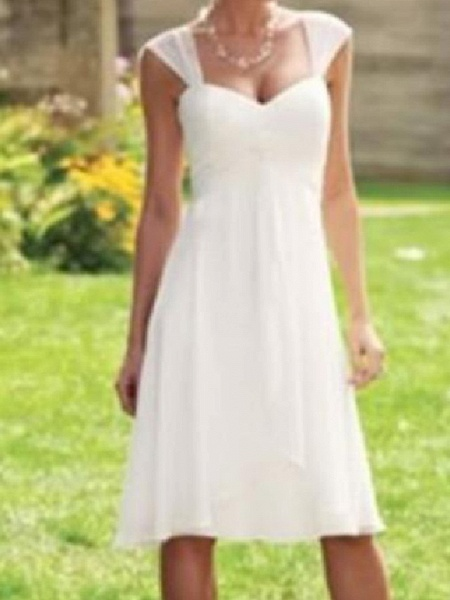 A-Line Wedding Dresses Scoop Neck Knee Length Chiffon Taffeta Sleeveless Country Plus Size_2