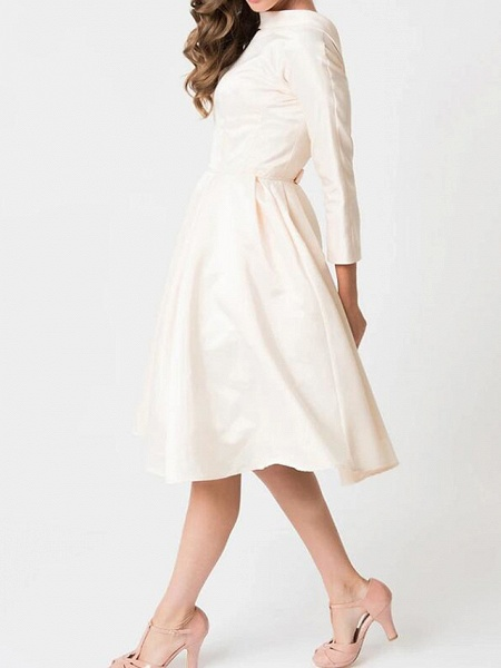 A-Line Wedding Dresses High Neck Knee Length Satin Long Sleeve Casual Little White Dress_3