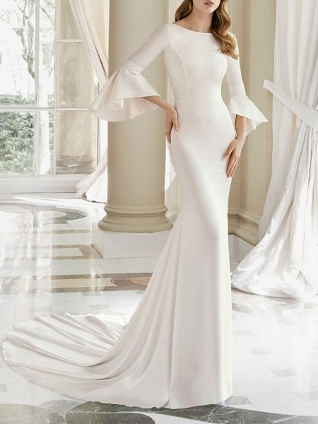 Mermaid \ Trumpet Wedding Dresses Bateau Neck Court Train Satin 3\4 Length Sleeve_1