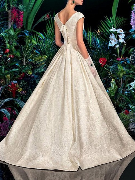 A-Line V Wire Sweep \ Brush Train Lace Satin Short Sleeve Formal Vintage Sexy Wedding Dresses_3