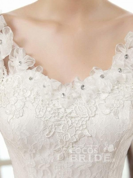 Vintage Lace Wedding Dresses Cap Sleeves Long Train Ball Gowns_5