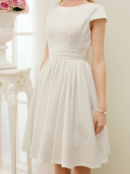 A-Line Wedding Dresses Jewel Neck Knee Length Satin Short Sleeve Formal Simple Casual Little White Dress_6