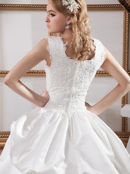 A-Line Square Neck Court Train Lace Satin Regular Straps Wedding Dresses_5