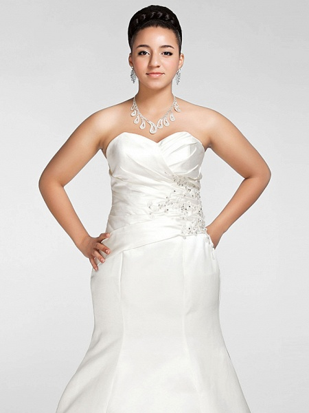 Mermaid \ Trumpet Wedding Dresses Sweetheart Neckline Court Train Satin Strapless Formal Sparkle & Shine Plus Size_5