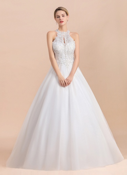 Halter Lace Appliques A-line Sleeveless Wedding Dress_6