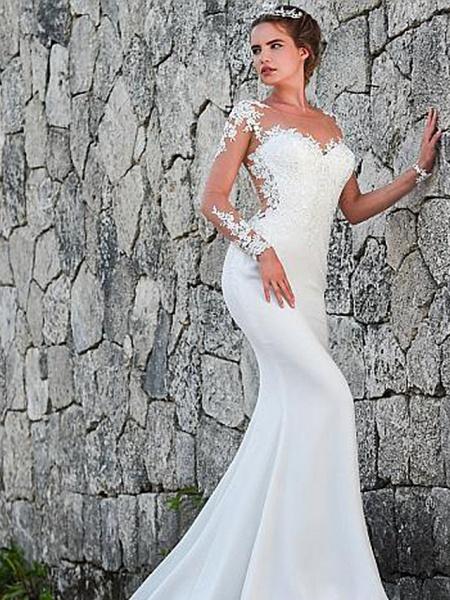 Mermaid \ Trumpet Wedding Dresses Jewel Neck Court Train Lace Long Sleeve Formal Casual Vintage Illusion Sleeve_2