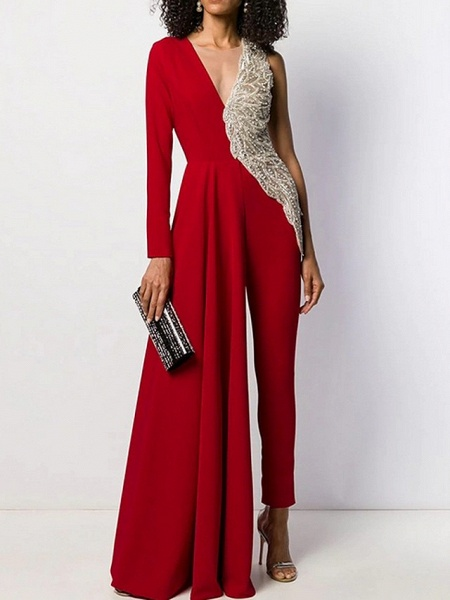 Women's Black White Red Wide Leg Jumpsuit_1