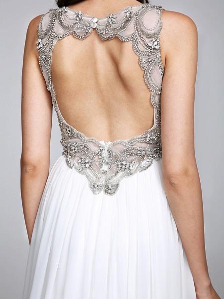 A-Line Wedding Dresses V Neck Sweep \ Brush Train Chiffon Regular Straps Country Romantic Glamorous Sparkle & Shine Plus Size Backless_10