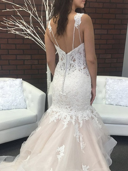 Mermaid \ Trumpet Spaghetti Strap Sweep \ Brush Train Lace Tulle Sleeveless Sexy Backless Wedding Dresses_3