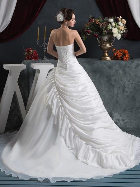 Ball Gown Strapless Court Train Organza Taffeta Strapless Wedding Dresses_3