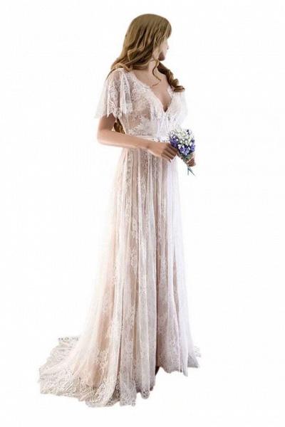 Gorgeous V-Neck Cap Sleeves Lace Wedding Dresses_1