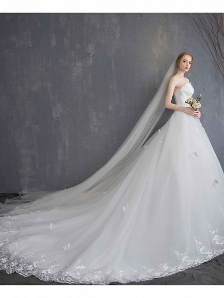 Ball Gown Wedding Dresses Strapless Chapel Train Lace Tulle Lace Over Satin Strapless Formal Vintage Illusion Detail_4