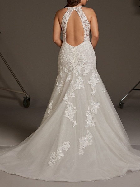 Mermaid \ Trumpet Wedding Dresses V Neck Sweep \ Brush Train Lace Tulle Regular Straps Plus Size_2