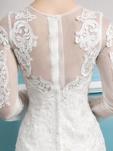 Mermaid \ Trumpet Wedding Dresses Jewel Neck Court Train Lace Tulle Polyester Long Sleeve Sexy Illusion Sleeve_6