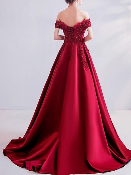 A-Line Wedding Dresses Off Shoulder Sweep \ Brush Train Satin Short Sleeve Romantic Plus Size Red_4