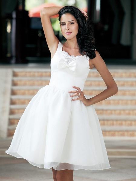Ball Gown Wedding Dresses Square Neck Knee Length Organza Taffeta Regular Straps Little White Dress_7