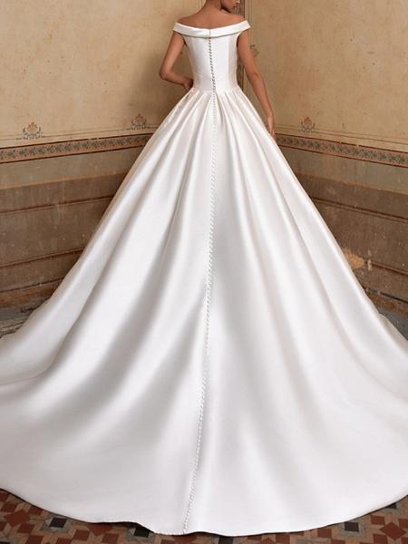 A-Line Wedding Dresses Off Shoulder Sweep \ Brush Train Satin Short Sleeve Simple Elegant_2