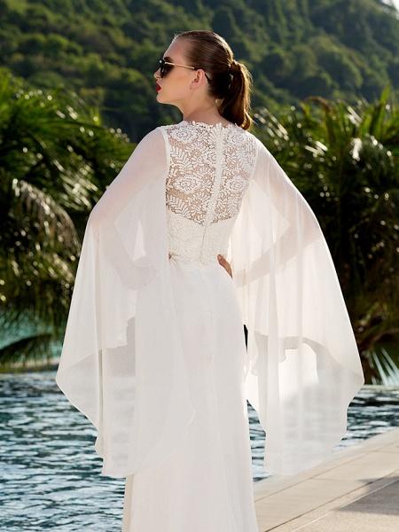 Sheath \ Column Wedding Dresses Jewel Neck Sweep \ Brush Train Lace Georgette Long Sleeve Beach Illusion Detail Backless_6