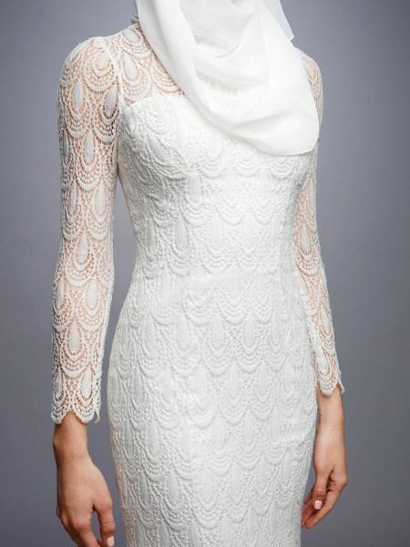 Mermaid \ Trumpet High Neck Court Train Lace Long Sleeve Wedding Dresses_9