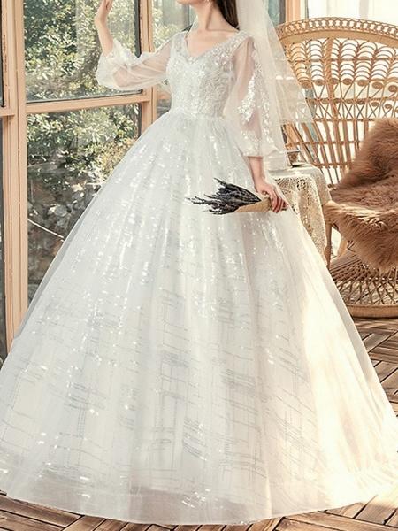 Ball Gown Wedding Dresses V Neck Sweep \ Brush Train Lace 3\4 Length Sleeve Beach_2