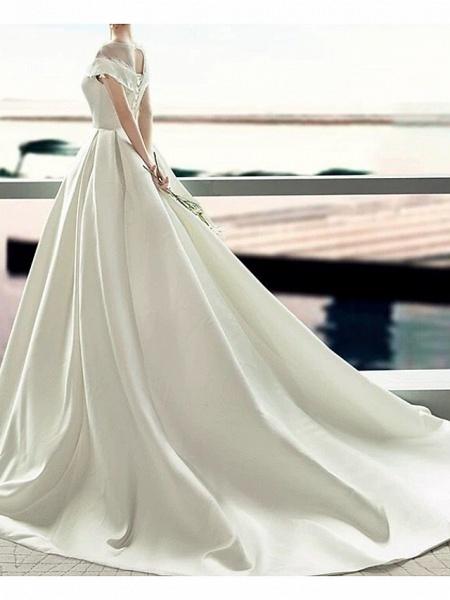 A-Line Jewel Neck Sweep \ Brush Train Lace Tulle Regular Straps Formal Plus Size Elegant Wedding Dresses_3