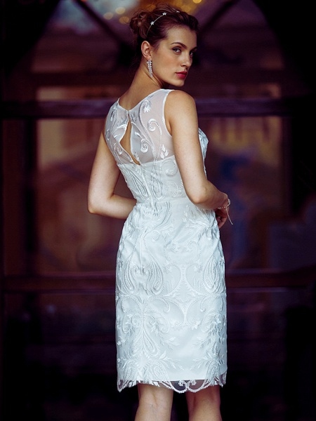 Sheath \ Column Wedding Dresses Bateau Neck Knee Length Metallic Lace Sleeveless Little White Dress See-Through_6