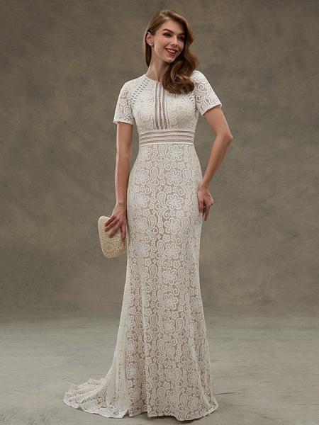 Sheath \ Column Wedding Dresses Jewel Neck Floor Length Sheer Lace Short Sleeve Open Back See-Through_2