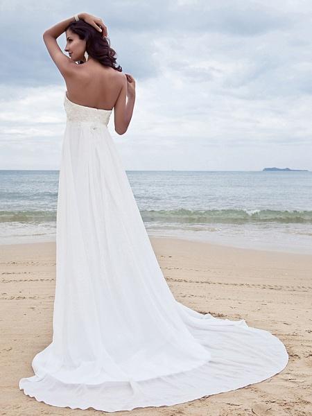 A-Line Wedding Dresses Sweetheart Neckline Court Train Chiffon Strapless Simple Beach Plus Size_2