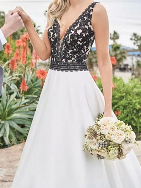 A-Line Wedding Dresses V Neck Sweep \ Brush Train Satin Sleeveless Beach Plus Size Black_2