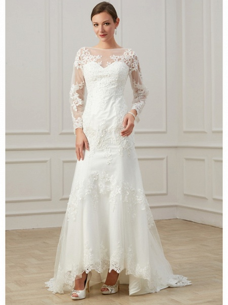 Sheath \ Column Wedding Dresses Jewel Neck Sweep \ Brush Train Lace Tulle Long Sleeve Formal Plus Size Illusion Sleeve_1