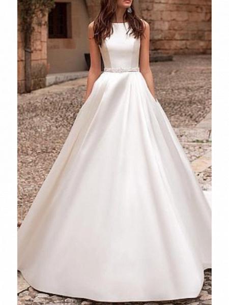 A-Line Wedding Dresses Jewel Neck Court Train Satin Regular Straps_1